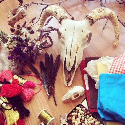 Voodoo-costume-ingredients and tools