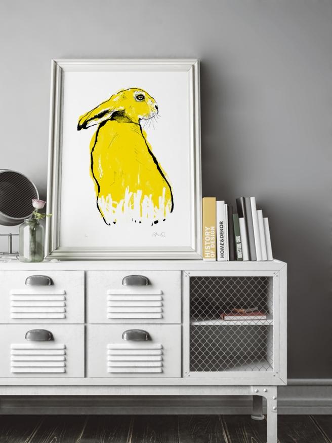 Tiff-Howick-yellow-hare-screenprint-500x700mm-interior-design