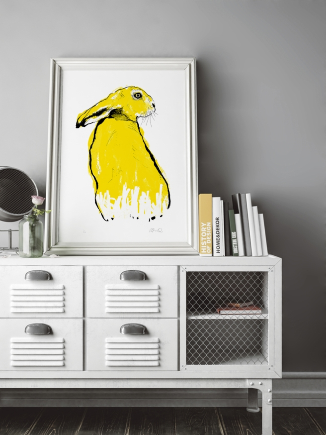 Tiff-Howick-yellow-hare-screenprint-500x700mm-interior-design